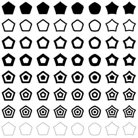 pentagon: Pentagon shape polygon vector icon template set Illustration