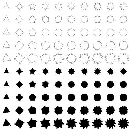 distort: Black deformed polygon shape vector icon template collection