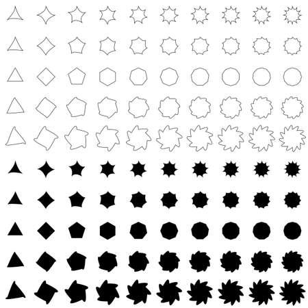heptagon: Black deformed polygon shape vector icon template collection