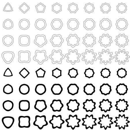 heptagon: Black curved polygon shape vector icon collection