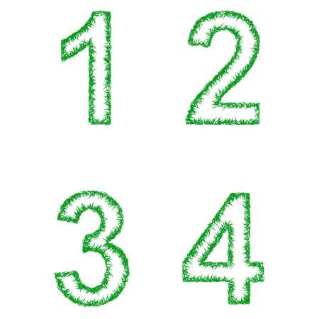 3 4: Green grass font design set - numbers 1, 2, 3, 4