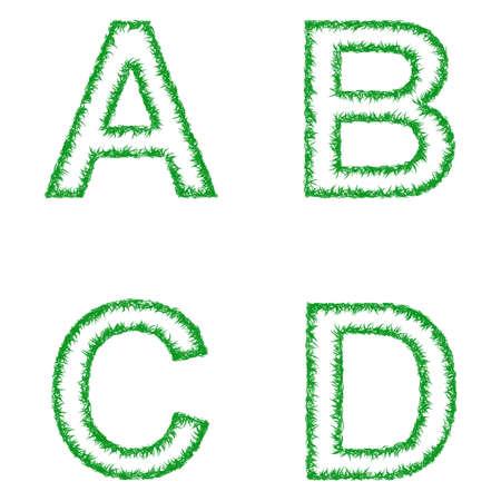 green line: Green grass font design set - letters A, B, C, D