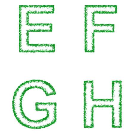 h: Green grass font design set - letters E, F, G, H