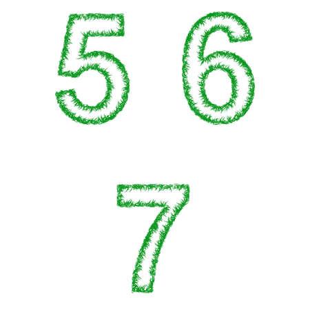 grass font: Green grass font design set - numbers 5, 6, 7
