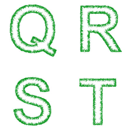 grass font: Green grass font design set - letters Q, R, S, T Illustration