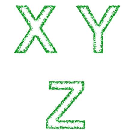 grass font: Green grass font design set - letters X, Y, Z