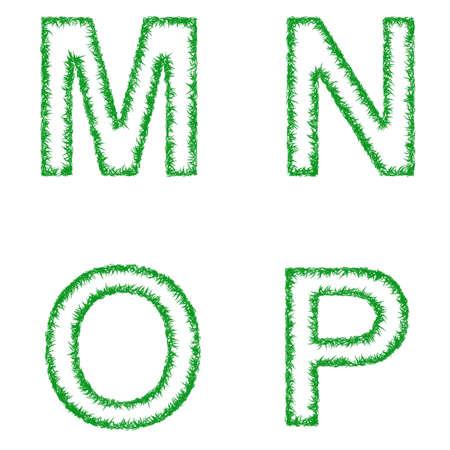 grass font: Green grass font design set - letters M, N, O, P Illustration