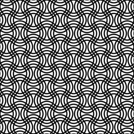 grid pattern: Repeating black and white curved grid pattern