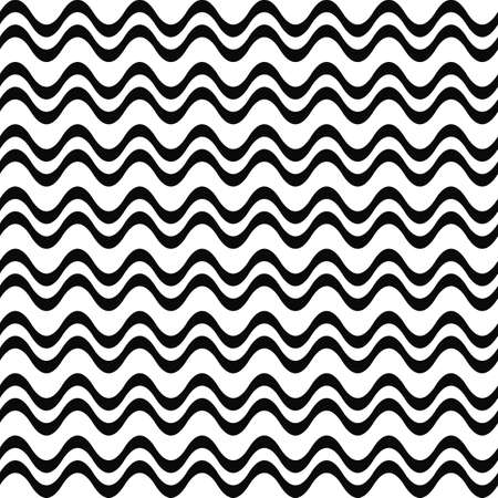 abstract waves background: Seamless black and white double wave pattern
