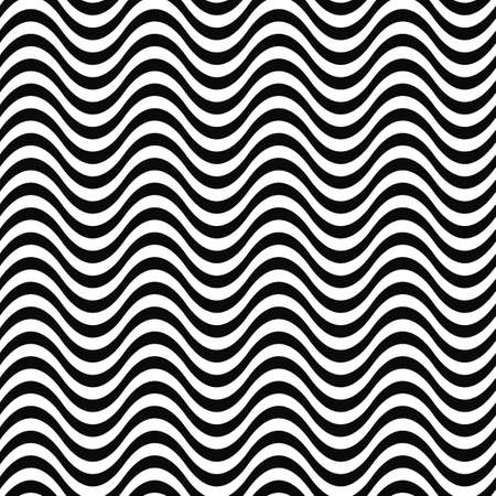 water waves: Repeating monochrome 3D wave line pattern design Illustration
