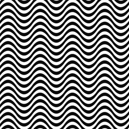sine: Repeating monochrome 3D wave line pattern design Illustration