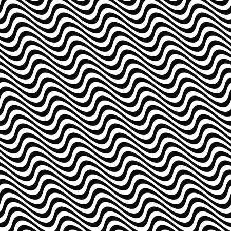 white wave: Black and white seamless wave line pattern