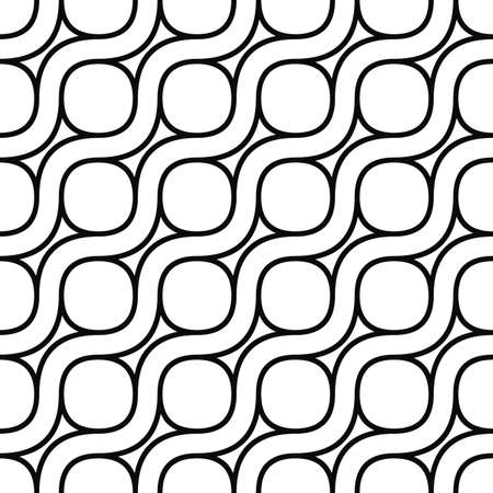 iron ribbon: Seamless monochrome curved pattern design vector background