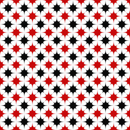 black and red: Black red seamless curved star pattern background Illustration