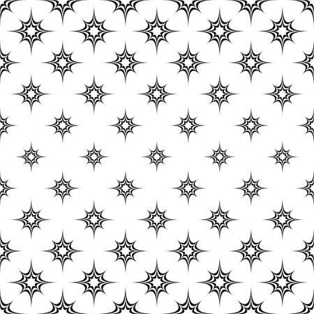 star pattern: Seamless monochrome curved star pattern design background