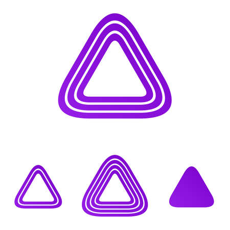 purple: Purple line triangle shape logo design set