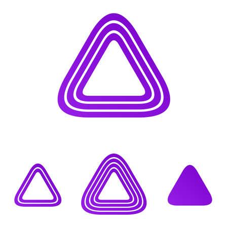 morado: Triángulo línea de forma Conjunto de la insignia del diseño púrpura