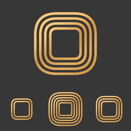 rounded rectangle: Bronze line rounded rectangle logo design set