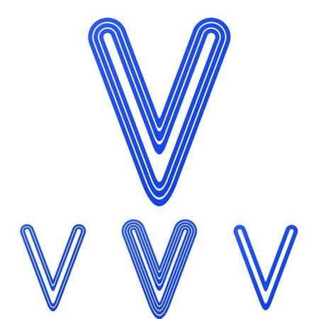letter v: Blue line letter v logo design set