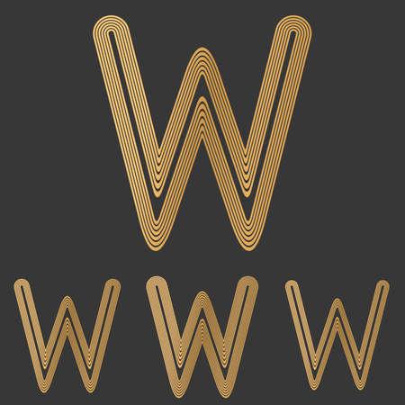 letter w: Bronze line letter w logo design set Illustration