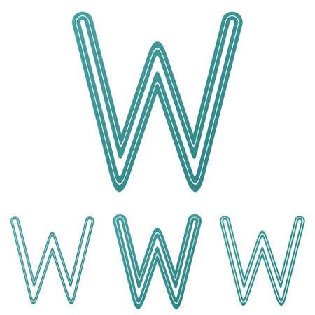 letter w: Teal line letter w logo design set Illustration