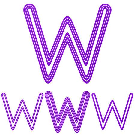 letter w: Purple line letter w letter logo design set Illustration