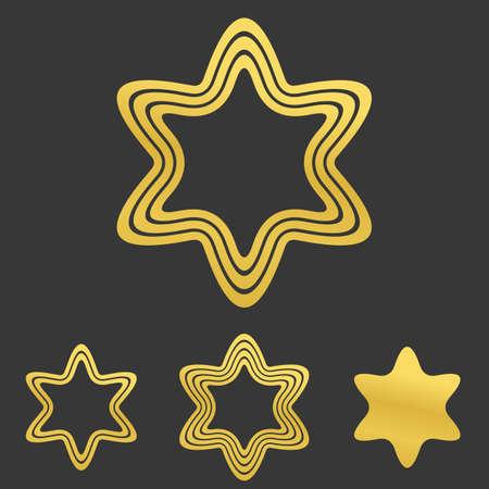 hexagram: Golden line hexagram symbol logo design set Illustration