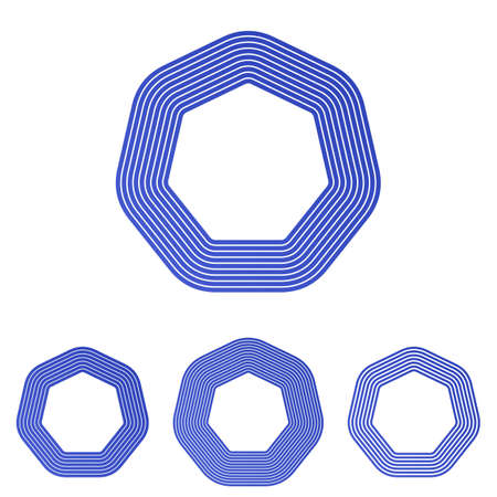 heptagon: Blue vector heptagon logo icon design set