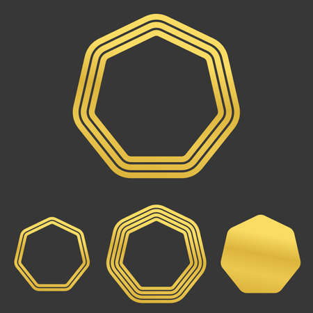 heptagon: Golden line heptagon logo icon design set