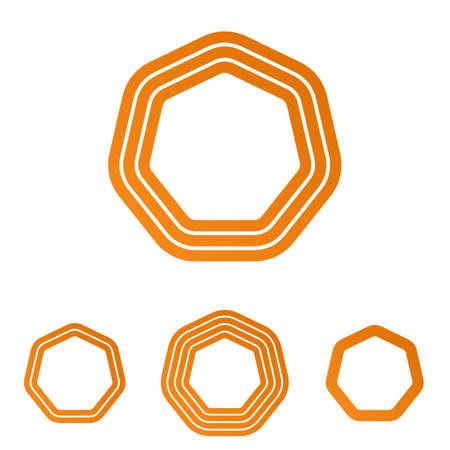 heptagon: Orange line heptagon logo icon design set