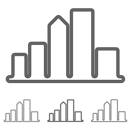 logo batiment: Noir vecteur ville symbole logo ensemble