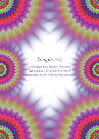 paperboard: Abstract colorful page border fractal ornament design Illustration
