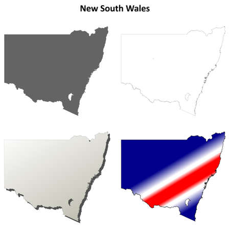 new south wales: New South Wales blank detailed outline map set Illustration