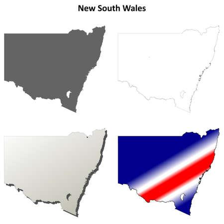 sydney australia: New South Wales blank detailed outline map set Illustration