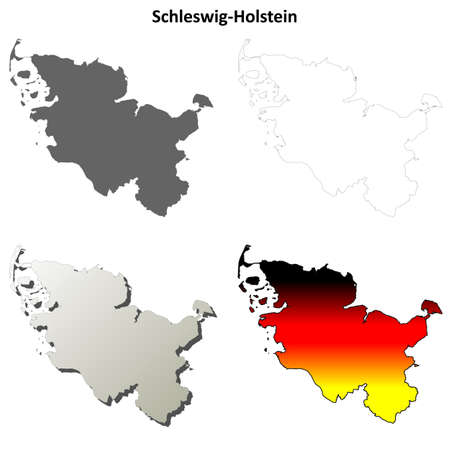 Schleswig-Holstein blank detailed vector outline map set