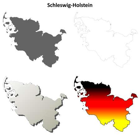 Schleswig-Holstein blank detailed vector outline map set