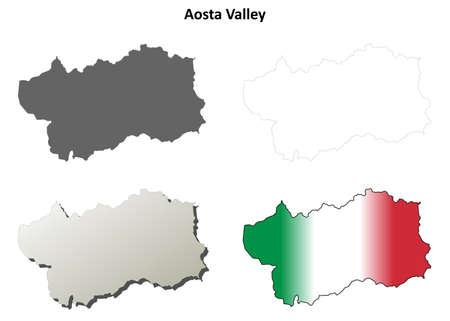 aosta: Aosta Valley blank detailed outline map set