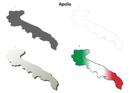 Apulia region blank detailed outline map set Illustration