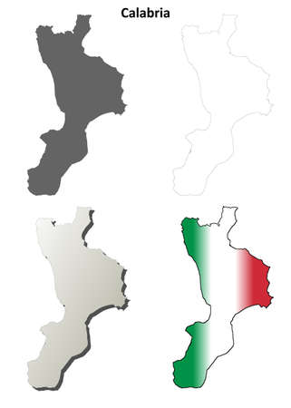 italia: Calabria region blank detailed outline map set