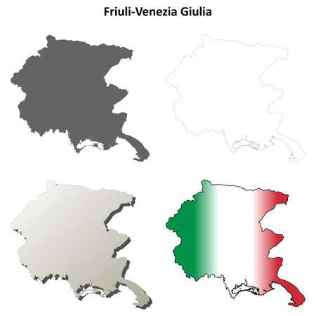 venezia: Friuli-Venezia Giulia blank detailed outline map set Illustration