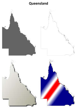 queensland: Queensland blank detailed outline map set
