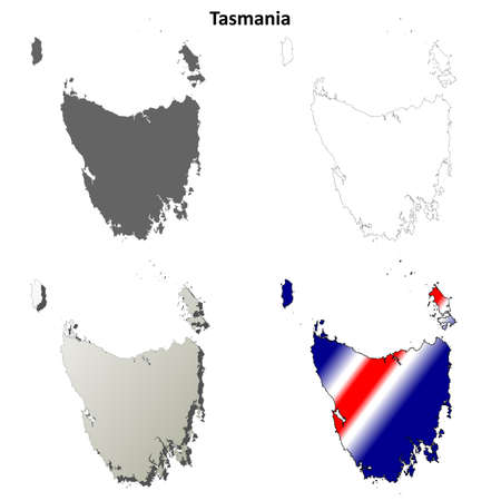 tasmania: Tasmania blank detailed outline map set