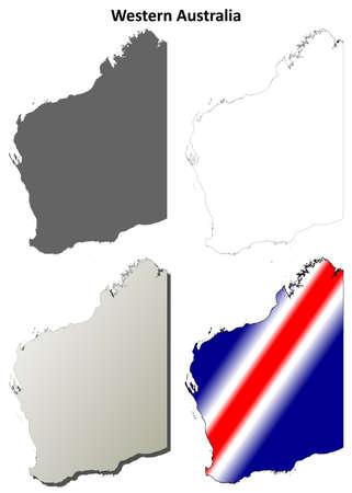 western australia: Western Australia blank detailed outline map set Illustration