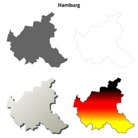Hamburg blank detailed outline map set