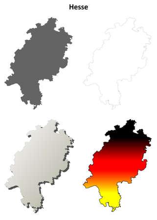 ヘッセン州空白概要地図セット  イラスト・ベクター素材