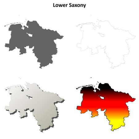 lower: Lower Saxony blank detailed outline map set