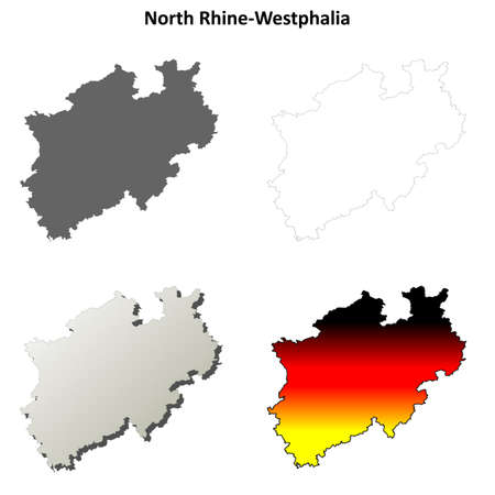 rhine westphalia: North Rhine-Westphalia blank detailed outline map set Illustration