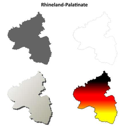 deutschland: Rhineland-Palatinate blank detailed outline map set