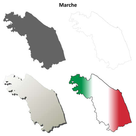 coastline: Marche region blank detailed outline map set