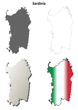 sardinia: Sardinia blank detailed outline map set Illustration